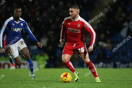 Swindon Town midfielder Anton Rodgers looks for a pass during the Sky Bet League 1 match between Chesterfield and Swindon Town at the Proact stadium, Chesterfield
