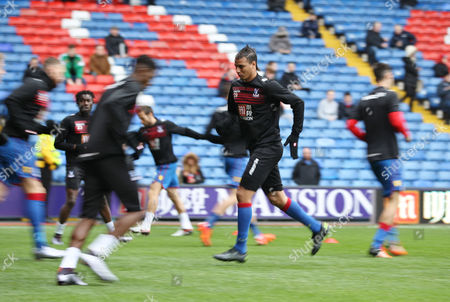Marouane Chamakh of Crystal Palace warms up   before  the Barclays Premier League match between Crystal Palace and Newcastle   played at Selhurst Park stadium in London on 28 November 2015