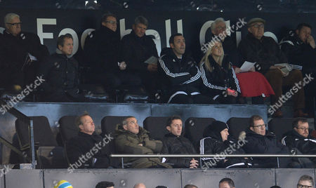 Fulham CEO Alistair Mackintosh, front row centre, looks on alongside Chief Football Officer Mike Rogg and Alan Curbishley during the Sky Bet Championship match between Fulham and Preston North End played at Craven Cottage, London on November 28th 2015