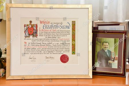Stock Photo of Knighthood diploma plaque