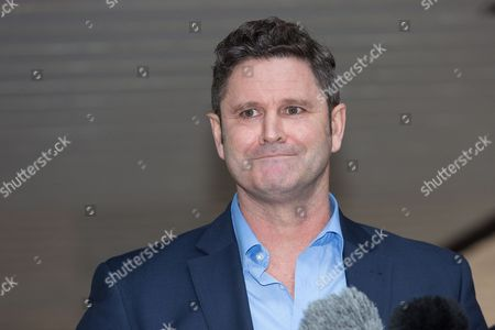 Chris Cairns giving a statement before leaving Southwark Crown Court