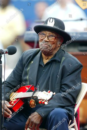Bo Diddley performing at the US Open opening ceremony in the Arthur Ashe Stadium