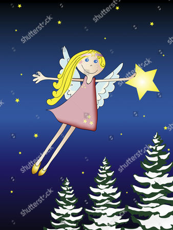 Stock Picture of Illustration of a Christmas motive, flying angel, snow covered trees, blue sky with stars