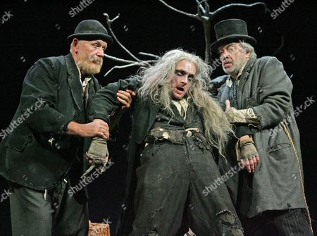 'Waiting for Godot' - Alan Opie (Estragon), Richard Dormer (Lucky) and Terence Rigby (Pozzo)