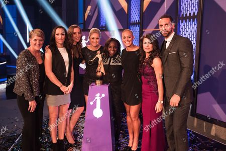 England Lionesses. L-R Clare Balding, Lucy Bronze, Siobhan Chamberlain, Steph Houghton, Eniola Aluko, Lianne Sanderson, Claire Rafferty and Rio Ferdinand.