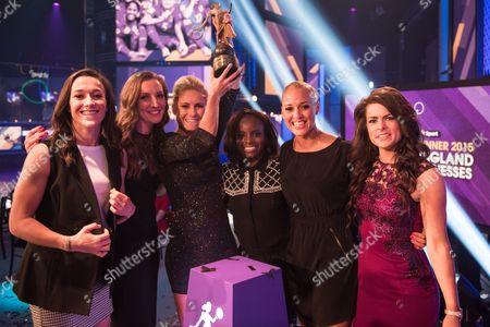 England Lionesses. L-R Lucy Bronze, Siobhan Chamberlain, Steph Houghton, Eniola Aluko, Lianne Sanderson, Claire Rafferty, Clare Balding.