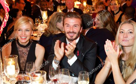 Stock Image of David Beckham, Heidi Bishop and guest