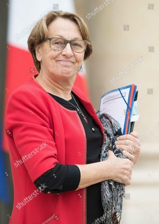 French Public Affairs Minister Marylise Lebranchu leaves the Elysee Presidential Palace after the weekly cabinet meeting