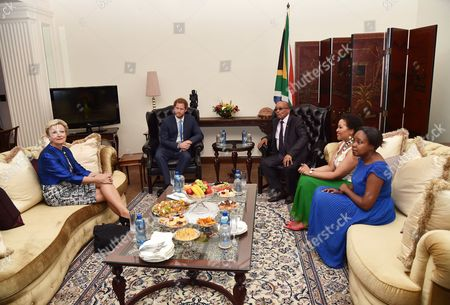 Prince Harry meeting with President Jacob Zuma, Thobeka Mabhija and daughter Msholozi Zuma at their home in Pretoria