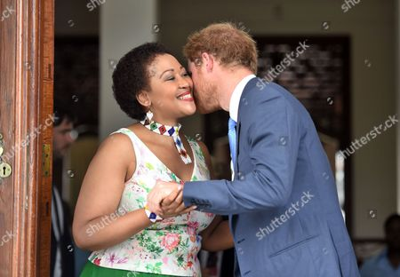 Stock Photo of Thobeka Mabhija welcomes Prince Harry at her home in Pretoria