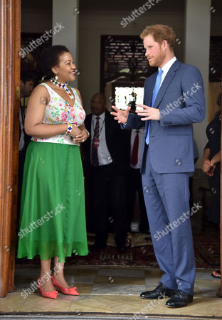 Stock Image of Thobeka Mabhija welcomes Prince Harry at her home in Pretoria