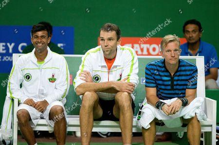 Hyderabad Aces players, Jeevan Nedunchezhiyan (IND), Ivo Carlovic (CRO) and Captain Thomas Johansson (SWE)