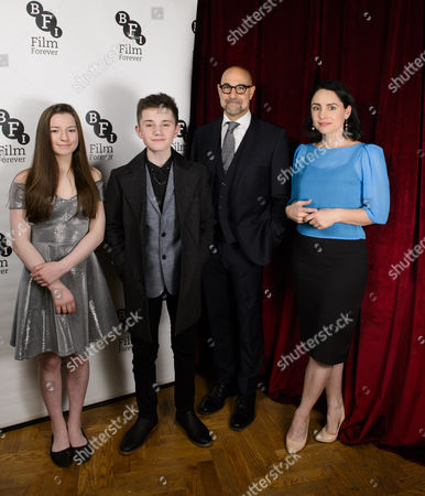 Stanley Tucci (Hook) and Laura Fraser (Mrs Darling) with Hazel Doupe (Wendy) and Zak Sutcliffe (Peter)