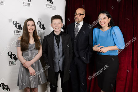 Stock Image of Stanley Tucci (Hook) and Laura Fraser (Mrs Darling) with Hazel Doupe (Wendy) and Zak Sutcliffe (Peter)