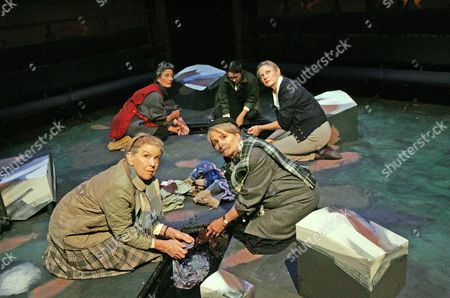 'The Women of Lockerbie' at the Orange Tree Theatre - Colette O'Neil (Olive), Nan Kerr (Hattie), Isonil Nisbet (Woman 1), Emma D'Inverno (Woman 2) and Lisa Eichhorn (Madeline)