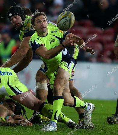 Chris Cusiter of Sale Sharks during the Aviva Premiership match between Gloucester and Sale Sharks played at Kingsholm, Gloucester, on December 4th 2015