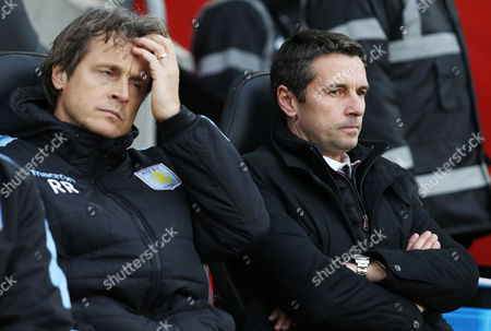 Manager Remi Garde and assistant Reginald Ray before the Barclays Premier League match between Southampton and Aston Villa played at St. Mary's Stadium, Southampton, on December 5th 2015