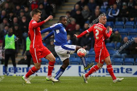Chesterfield FC forward Sylvan Ebanks-Blake beats the defence during the The FA Cup match between Chesterfield and Walsall at the Proact stadium, Chesterfield