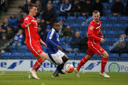 Chesterfield FC forward Sylvan Ebanks-Blake beats the defenders during the The FA Cup match between Chesterfield and Walsall at the Proact stadium, Chesterfield