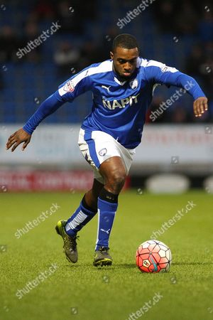 Chesterfield FC forward Sylvan Ebanks-Blake strikes the ball during the The FA Cup match between Chesterfield and Walsall at the Proact stadium, Chesterfield