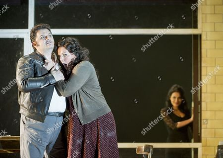 Stock Photo of Aleksandrs Antonenko as Turiddu, Eva-Maria Westbroek as Santuzza, Martina Belli as Lola