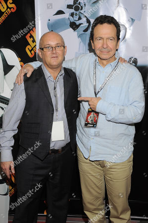 Stock Photo of Johnny Lynch (First Order Stormtrooper) and Andy Secombe (Watto)