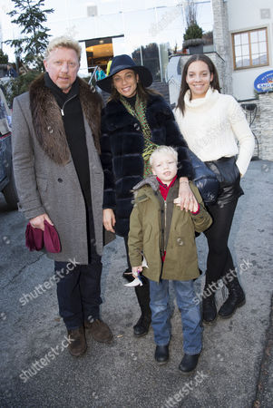 Stock Image of Boris Becker, Sharlely Lilly Kerssenberg, guest and son Amadeus Benedict Edley Luis