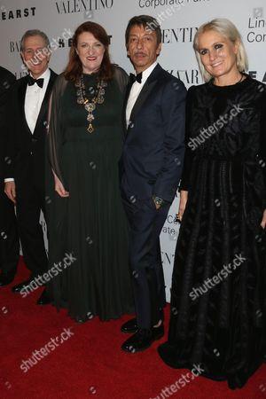 Steve Schwartz, Glenda Bailey with Valentino Creative Directors Pierpaolo Piccioli and Maria Grazia Chiuri