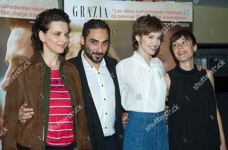 Juliette Binoche, Piero Messina, Lou de Laage and guest