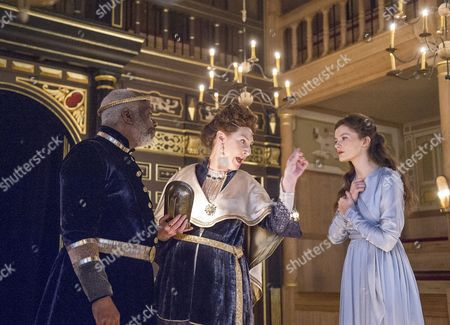 Stock Image of Joseph Marcell as Cymbeline, Pauline McLynn as The Queen, Emily Barber as Innogen,