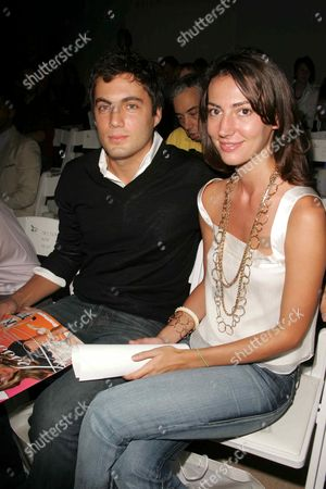 Fabian Basabe and wife at the Esteban Cortazar Spring 2006 Fashion Show in New York City on September 9, 2005.