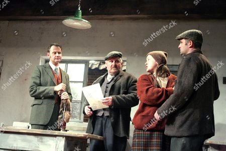 'Harvest' at the Royal Court Theatre - Dickon Tyrrell, Mike Burnside, Jane Hazelgrove and Gareth Farr