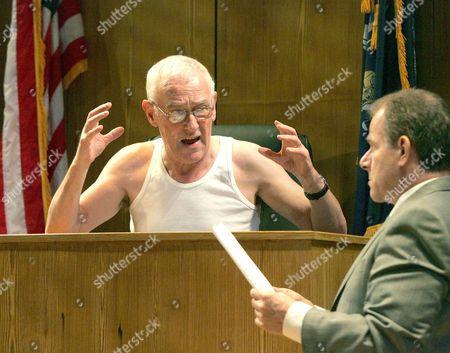'Romance' at the Almeida Theatre - John Mahoney ( Judge ) Colin Stinton ( Defense attorney )