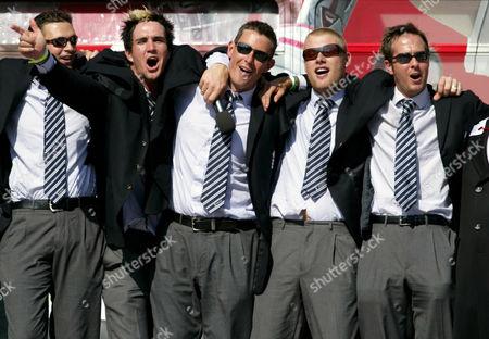 Stock Picture of Steve Harmison, Kevin Pietersen, Ashley Giles, Andrew 'Freddie' Flintoff  and Michael Vaughan