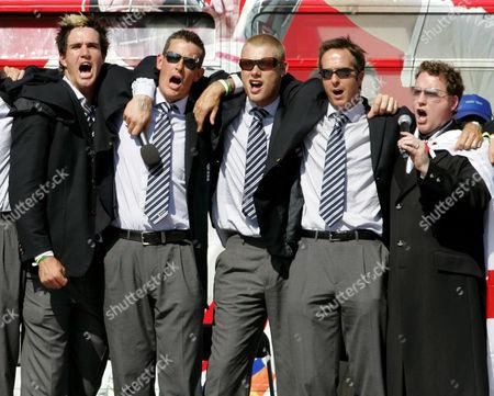 Stock Photo of Kevin Pietersen, Ashley Giles, Andrew 'Freddie' Flintoff  and Michael Vaughan