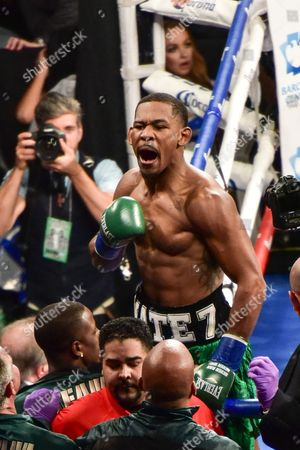 Daniel Jacobs of the United States celebrates his first round TKO victory