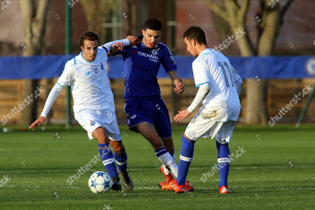 Porto's Joao Cardoso tries to shake off a challenge from Chelsea's Isaac Christie-Davies during Chelsea U19 vs FC Porto U19 at the Cobham Training Ground