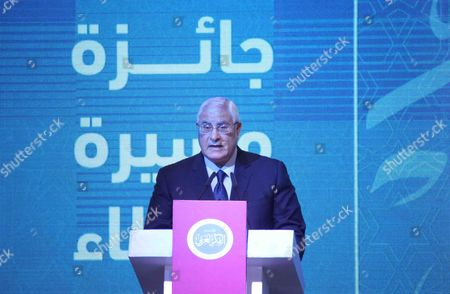Editorial image of Interim President Adly Mansour attends a ceremony honoring in the Arab League's headquarters, Cairo, Egypt - 07 Dec 2015