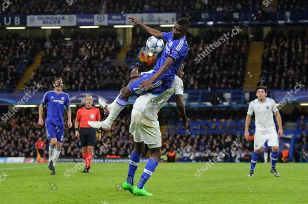 Ramires of Chelsea leaps over Giannelli Imbula of FC Porto during the UEFA Champions League Group G match between Chelsea and FC Porto played at Stamford Bridge, London on the 9th of December 2015