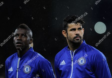 Ramires and Diego Costa of Chelsea during the UEFA Champions League Group G match between Chelsea and FC Porto played at Stamford Bridge, London on the 9th of December 2015