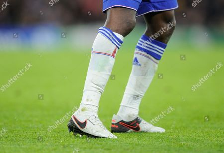 Blood on the socks of Ramires of Chelsea during the UEFA Champions League Group G match between Chelsea and FC Porto played at Stamford Bridge, London on the 9th of December 2015