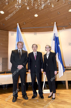 United Nations Secretary General Ban Ki-moon (C) meets the Speaker of the Parliament of Finland Maria Lohela (R) and Member of Finnish Parliament Antti Kaikkonen (L) in Helsinki