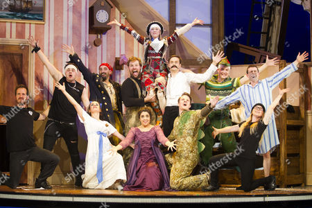 Stock Picture of Charlie Russell (Sandra), Tom Edden (Francis), Henry Lewis (Author/Robert), Nancy Wallinger (Annie), Ellie Morris (Lucy), Henry Shields (Author/Chris), Dave Hearn (Max), Greg Tannahill (Jonathan), Jonathan Sayer (Author/Dennis) and members of the cast during the curtain call