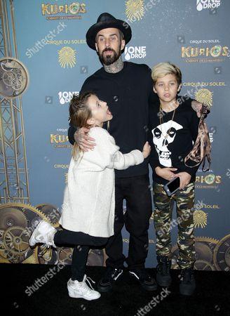 Travis Barker and children Landon Asher Barker and Alabama Luella Barker