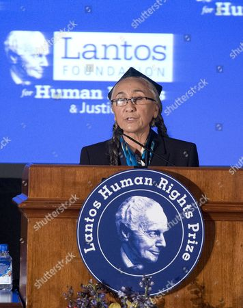 Lantos Prize Recipient Rebiya Kadeer speaks about her advocacy work in defense of the oppressed Muslims of China, the Uyghur people, at the Lantos Human Rights Prize ceremony on Capitol Hill