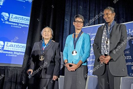 Laureates Rebiya Kadeer, Irshad Manji, and Ayaan Hirsi Ali receive the 2015 Lantos Human Rights Prize during a ceremony on Capitol Hill