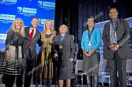 Annette Lantos Tillemann-Dick, Dr. Tomicah Tillemann, and Katrina Lantos Swett honor 2015 Lantos Prize recipients Rebiya Kadeer, Irshad Manji, and Ayaan Hirsi Ali at a ceremony on Capitol Hill