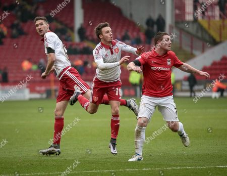 Conor Thomas (Coventry City), Stefan Scougall (Sheffield United) and John Fleck (Coventry City) during the Sky Bet League 1 match between Sheffield Utd and Coventry City at Bramall Lane, Sheffield