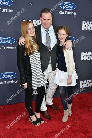 Chris Henchy, producer (C) and his children, Rowan Henchy and Grier Henchy