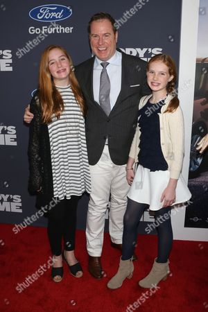 Stock Picture of Chris Henchy, producer (C) and his children, Rowan Henchy and Grier Henchy